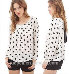 bb47e905f 2015 nuevo diseño para mujer de la gasa blusa para la señora con manga  larga OEM-imagen-XL Camiseta-Identificación del ...