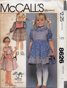 McCalls 8626 1980s Toddlers Ruffles and Lace Designer Dress vintage sewing pattern by mbchills
