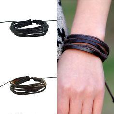 Christmas gifts  Women Men Wrap Charm Genuine Leather Bracelets Multilayer Braid Leather Bracelets Bangles Cuff