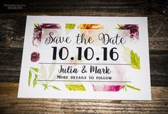 Floral Save-The-Date, Romantic, Modern Set(s) of Save-The-Date Announcements by DesignsByZal on Etsy