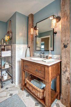 Sherwin Williams Breezy Beachy Casual Bathroom - beach style - bathroom - san diego - Hamilton-Gray Design, Inc. Modern Bathroom Sink, Mold In Bathroom, Rustic Bathroom Vanities, Beach Bathrooms, Rustic Bathrooms, Bathroom Styling, Bathroom Interior, Small Bathroom, Bathroom Ideas