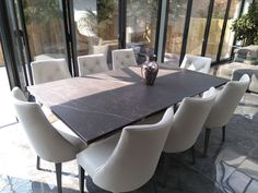 Extendable version of Victoria table in KELYA Dekton and Stone frame. Available in other sizes and configurations. FLORIDA dining chairs in Ciervo Leather Vetro and Stone legs. Delivered to our client in Hants. Contemporary Furniture, Contemporary Design, Dining Chairs, Dining Table, Leather Bed, Sofa Design, Modern Bedroom, Sofas, Florida