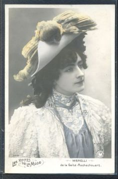 PW035-ARTIST-STAGE-STAR-MERELLI-QUEEN-of-FASHION-Large-HAT-Tinted-PHOTO-pc