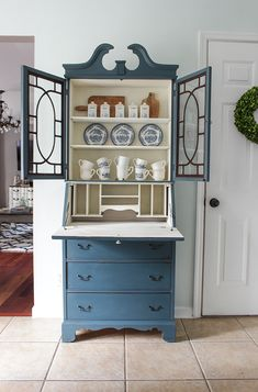 Furniture makeover using Fusion Mineral Paint on a vintage secretary. Refurbished Furniture, Recycled Furniture, Paint Furniture, Furniture Projects, Furniture Makeover, Desk Makeover, Blue Furniture, Desk Redo, Furniture Refinishing