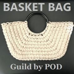 Tシャツヤーンsmooteeで編むカゴ風バッグの編み方/Guild By Pod - Diy Crafts Crochet Shell Stitch, Crochet Tote, Crochet Handbags, Crochet Purses, Diy Crafts Crochet, Straw Handbags, Finger Knitting, Macrame Bag, Basket Bag
