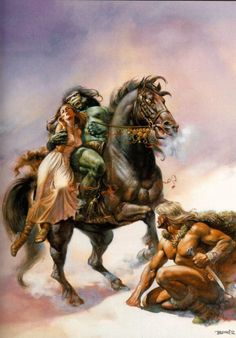 The Broken Sword - art by Boris Vallejo Dark Fantasy Art, Fantasy Kunst, Fantasy Artwork, Fantasy Posters, Boris Vallejo, Broken Sword, Vikings, Julie Bell, Bell Art