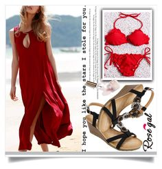 """""""Rosegal 36"""" by fashion-with-lela ❤ liked on Polyvore featuring Ciaté, red, beach, longdress and amazingforbeach"""