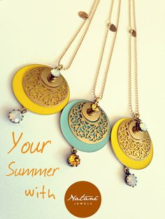 Natanè Planet necklace with customised enamels. Yellow Turquoise, Enamels, Woman Fashion, Different Colors, Washer Necklace, Planets, Swarovski, Jewels, Outfit