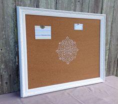 Large framed cork bulletin board  shabby chic by YouMatterDesigns, $128.00