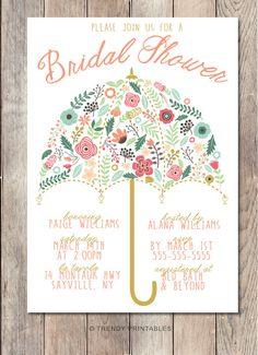 Bridal Shower Invitation, Umbrella Bridal Shower Invite, Pretty Bridal Shower Invite, Printable Bridal Shower Invite, Floral Shower Invite