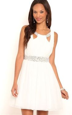 Deb Shops Short #Homecoming Dress with Keyhole Neckline and Soft Circle Skirt $80.00
