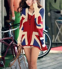 Trendy UK Flag Batwing Sweater