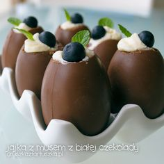 chocolate eggs with white chocolate mousse by Pokakulka.deviantart.com on #deviantART