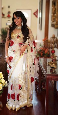 Color : White Saree Fabric : Net Inner Fabric : Shantoon Blouse Fabric : Matte With Embroidery Work Saree Size : Mtr Blouse Size : Mtr Work : Embroidery Work Indian Attire, Indian Wear, Indian Style, Patiala Salwar, Anarkali, Indian Dresses, Indian Outfits, Pakistani Outfits, Beautiful Saree