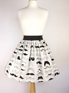 Black & White Mustache Pleated Full Skirt / Moustache Skirt | VintageGaleria - Clothing on ArtFire