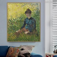 Give your home an realistic outdoor feeling by hanging this vangogh sitting woman canvas painting print. Painting Prints, Wall Art Prints, Canvas Prints, Van Gogh Prints, Online Art Store, Vincent Van Gogh, Art Reproductions, Impressionist, Wall Art Decor