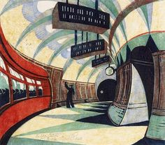 The Tube Station,1932, Color linocut - by Cyril Edward Power, English, 1872–1951