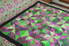 Bodacious Bohemian Full Size Quilt.  Abstract kale design in vivid greens and raspberries.  FULL Bedspread. Bed Covering. Quiltsy Handmade. by SewKreativebyKathryn on Etsy
