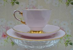 Tuscan China Trio- Tea Cup, Saucer, Tea Plate, Pink and Gilt Vintage English China