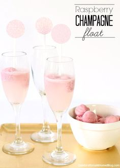 A little dessert with your drink never hurts. These raspberry champagne floats are perfect for a celebratory toast, and make a full dessert, too.