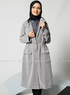 islamische kleidung fuer frauen mymodestystyle.com besuchen sie unsere shop #hijab #abayas #tuekische kleider #abendleider #islamischekleidung  Grippered Topcoat - Light Gray - Refka - <p>Fabric Info:</p> <p>70% Modal</p> <p>30% Polyester</p> <br> <p>Unlined</p> <p>Weight: 0.416 kg</p> <p>Measures of 38 size:</p> <p>Height: 109 cm</p> <p>Bust: 104 cm</p> <p>Waist: 102 cm</p> <p>Hips: 112 cm</p> - SKU: 198370. Buy now at http://muslimas-shop.com/grippered-topcoat-light-gray-refka.html