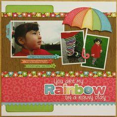A Doodlebug Flower Box Rainy Day Rainbow Layout by Mendi Yoshikawa…