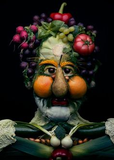 Colorful Food Art, Ideas to Compose Faces of Fresh Fruits, Vegetables, and Green Leaves