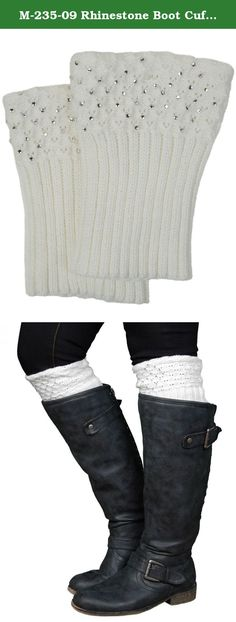 """M-235-09 Rhinestone Boot Cuff 7 x 5"""" Ivory. Funky Junque boot cuff is made of 100% acrylic and rhinestones."""