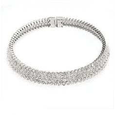 Bling Jewelry 4 Row Crystal Collar Bridal Choker Wedding Necklace Silver Tone