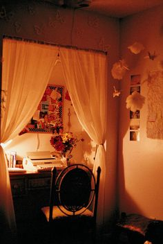 Desk Nook with curtains