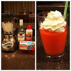 Made keto strawberry daiquiris tonight. Blend ice, sugar free jello, and rum in a blender (the ratios of each are based on your taste). Top with whipped cream. Low Carb Sweets, Low Carb Desserts, Low Carb Recipes, Jello Desserts, Healthy Recipes, Keto Fat, Low Carb Keto, Bacardi, Smoothies Verdes