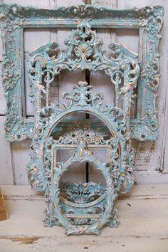 Aqua blue Frame grouping ornate with white distressed French chic vintage wall decor Anita Spero. $540.00, via Etsy.