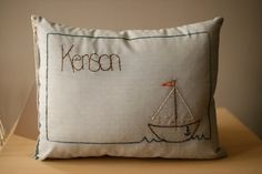 Personalized Sail boat baby pillow by OtterburnPQ on Etsy