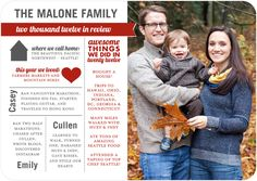 I really like this style of family christmas card -- then people get an update on how your family is doing each year :)