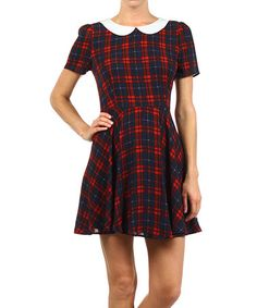 Love this Navy & Red Plaid Fit & Flare Dress on #zulily! #zulilyfinds