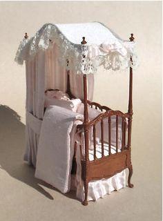 dressed miniature canopied crib by Elaine Scuderi