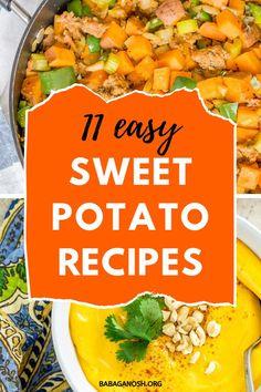 11+ Sweet Potato Recipes to try! Sweet potatoes are in season, so make these easy sweet potato recipes: sweet potato soups, sweet potato main courses, sweet potato nuggets, sweet potato curry, stuffed sweet potatoes, and more! Vegan sweet potato recipes, gluten free sweet potato recipes, and healthy sweet potato recipes are all on the list!