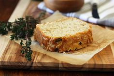 cheesy beer bread! a bottle of beer replaces the need for yeast in this quick recipe.