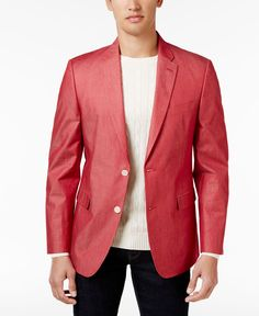 Tommy Hilfiger Men's Extra Slim-Fit Red Chambray Sport Coat