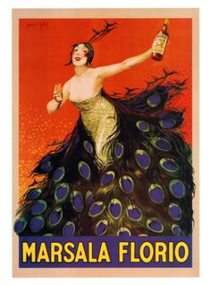 Marsala Florio - lady with peacock skirt and vivid orange background.