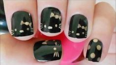 Cute black Hello KItty Nail Art