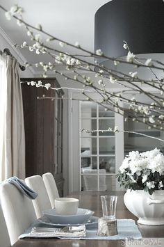 Blue grey and white dining room