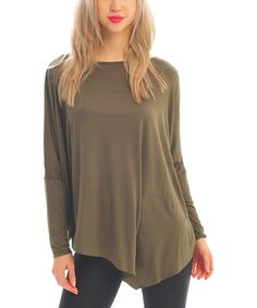 Another great find on #zulily! Olive Asymmetrical Long-Sleeve Top - Women by Zac Studio #zulilyfinds  Size Medium