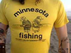 Vintage 80s Minnesota Fishing T Shirt. Neon by PleasantVintage, $15.00