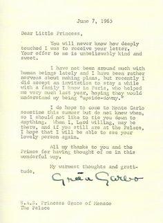 Letter from Greta Garbo to Princess Grace of Monaco