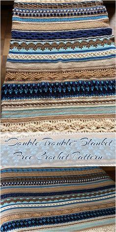 """[Free Crochet Pattern] Double Trouble Crochet Blanket Follow adorable crochet pattern """"Double Trouble"""" CAL #crochet #freepattern #crochetlove// Awesome sampler afghan!"""