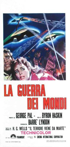 War of the Worlds, 1977 - original vintage movie poster for the Italian re-release of 1953 film based on the sci-fi story by H. G. Wells, War of the Worlds, starring Gene Barry, Ann Robinson and Les Tremayne.