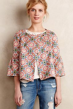 I like that the shape is somewhat vintage but that it has a fun pattern.    Salila Jacket #anthropologie