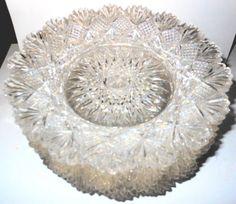 Set-of-8-FAB-Antique-Sparkling-American-Brilliant-Cut-Glass-7-1-4-Plates