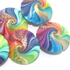 Colorful swirl lentil beads with tiny gold dots by ShuliDesigns, $30.00